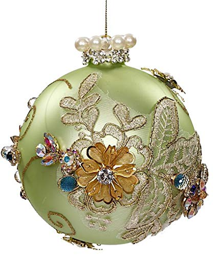 Mark Roberts Kings Jewels Ornaments Vintage Floral Jewel Mint Ball Ornament 4.5 Inch, 1 Each