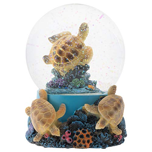 Elanze Designs Coral Reef Sea Turtles 100MM Musical Water Globe Plays Tune Wonderful World