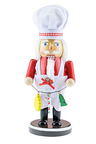 Clever Creations 9.5″ Chef/Baker Nutcracker Large White hat with red Rim 219HS-N13B