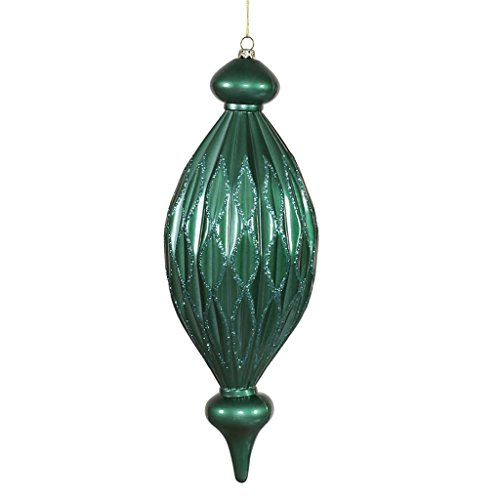 Vickerman 342343 – 12″ Candy Apple Emerald Green W/Teal Green Glitter Diamond Finial Christmas Tree Ornament (M145824)