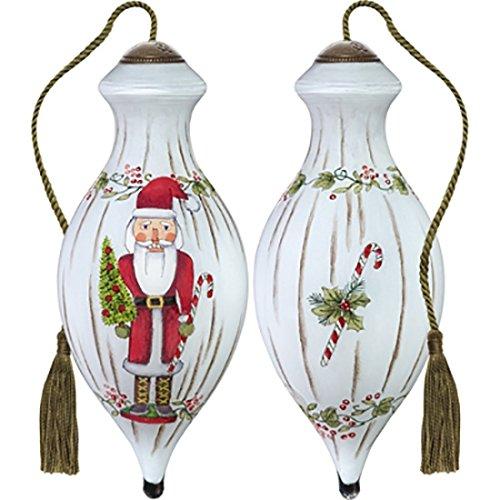 Ne'Qwa Art Hand Painted Blown Glass Nutcracker Santa Ornament, Multicolor