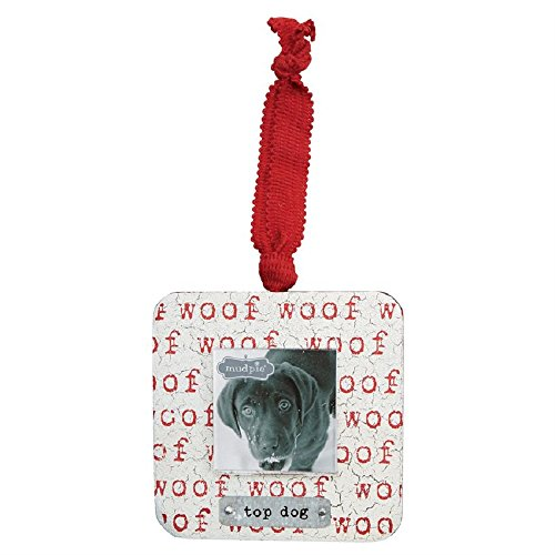 Mud Pie Wood and Tin Top Dog Frame Ornament, Multi-color, 4 inches x 4 inches