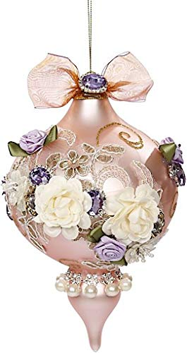 Mark Roberts Kings Jewels Ornaments Vintage Floral Jewel Pink Finial Ornament 7.5 Inch, 1 Each