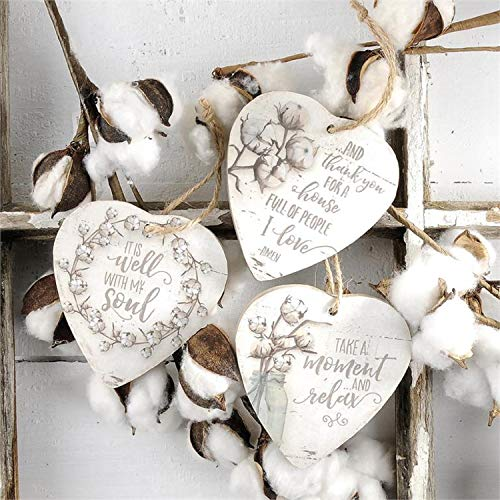 Blossom Bucket Hanging Heart Ornaments with Cotton Set of 3