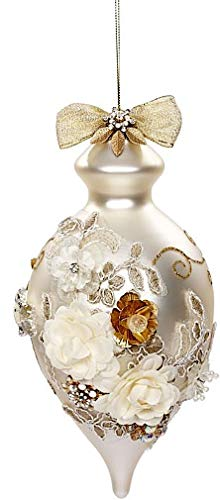 Mark Roberts Kings Jewels Ornaments Vintage Floral Jewel Pearl Drop Finial Ornament 8 Inch, 1 Each