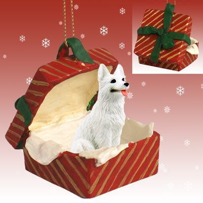 White German Shepherd Red Gift Box Christmas Ornament by Conversation Concepts