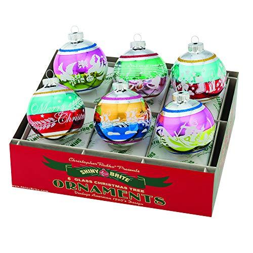 Christopher Radko Holiday Confetti Round Glass Ornaments 3.25″ 6 Piece Set Signature Flocked