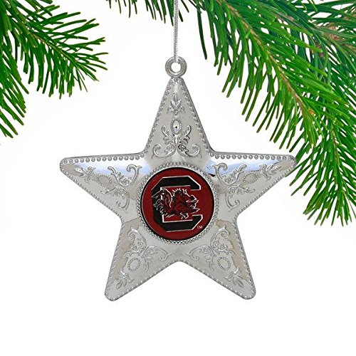 Boelter NCAA South Carolina Fighting Gamecocks Silver Star Ornament, Silver, 4″