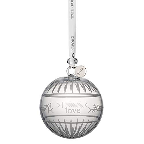 """Waterford Crystal Ogham """"Love"""" Ball Ornament 3.7″"""