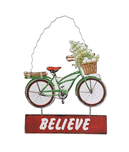 "Creative Co-Op Metal Bike Ornament, ""Believe """