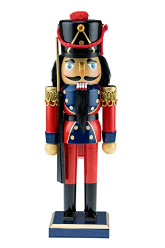 Clever Creations Traditional Wooden Soldier with Rifle Nutcracker | Red, Blue, and Gold Coat Outfit with Rifle | Festive Christmas Decor | 10.25″ Tall Perfect for Shelves and Tables | 100% Wood