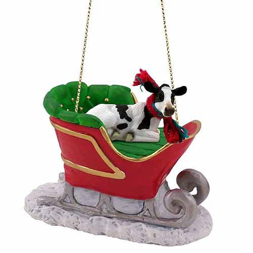 Holstein Cow Sleigh Ride Christmas Ornament – DELIGHTFUL! by Conversation Concepts