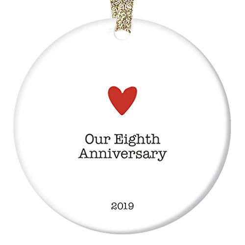 Eighth Anniversary 2019 Ornament Keepsake Gift 8th Christmas Together Wife Husband Eight 8 Years Married Dating Present Pretty Minimal Red Heart Tree Decoration Ceramic 3″ Flat Circle Gold Ribbon