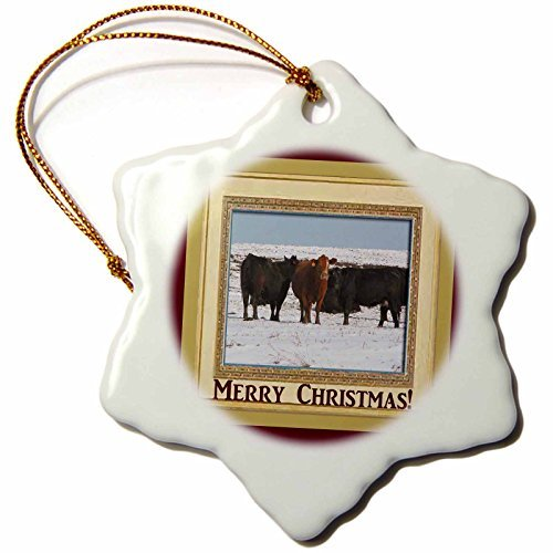 Christmas Ornament Cows, Merry Christmas Snowflake Porcelain Ornament,