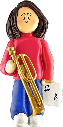 Music Treasures Co. Female Musician Trombone Ornament – Brown