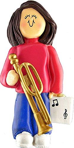 Music Treasures Co. Female Musician Trombone Ornament – Brown