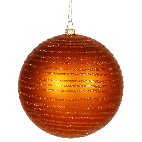 Vickerman Burnt Orange Glitter Striped Shatterproof Christmas Ball Ornament 4.75″ (120mm)
