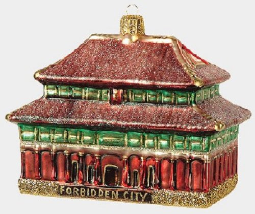 Pinnacle Peak Trading Company Forbidden City Polish Glass Christmas Ornament Beijing China Made in Poland