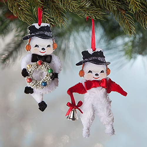 Bethany Lowe 4″ Retro Chenille Snowman Christmas Ornaments Set of 2 LO8199