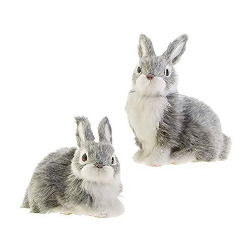 RAZ Imports Bunny Rabbit Figurines/Christmas Ornaments – Set of 2 Faux Fur Bunny Ornaments