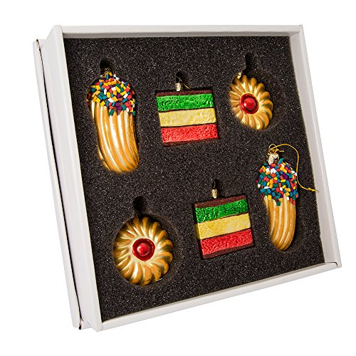 Kurt Adler 2-Inch-3-Inch Noble Gems Glass 6-Piece Cookie Ornament Set,