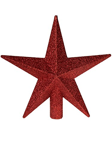 Clever Creations Red Glitter Star Tree Topper Dimensional 5 Points | Festive Christmas Décor | Perfect Complement to Any Holiday Decoration | Unlit Shatter Resistant Sparkled Plastic | 8″ Tall