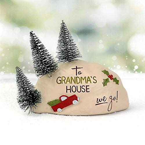Blossom Bucket to Grandma's House We Go – Red Truck Christmas Trees Snow Resin Country Christmas Holiday Prim Decor 4.25 x 5