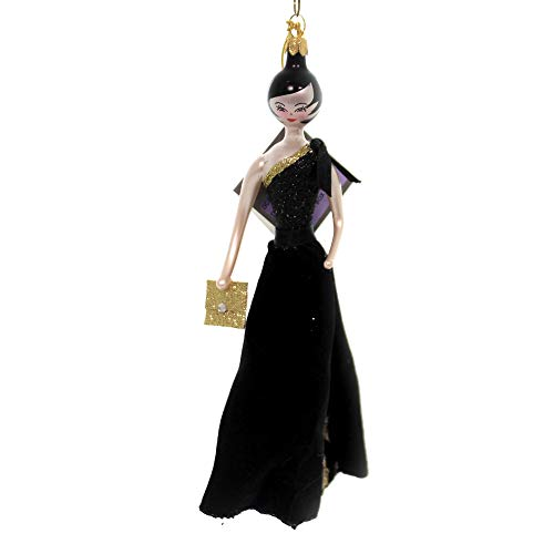 De Carlini Lady with Black Velvet Skirt Glass Italian Christmas Ornament Do7637
