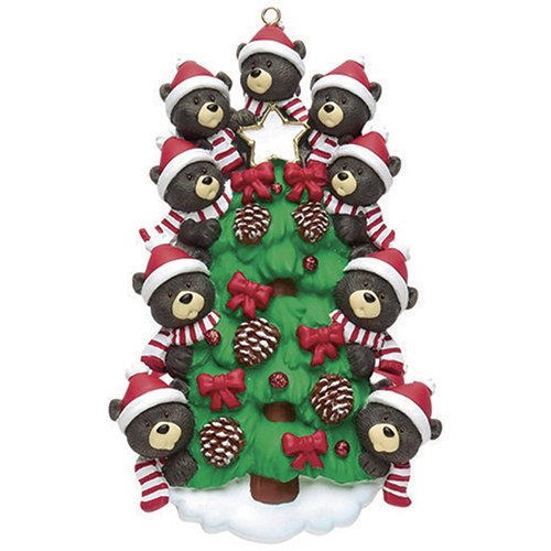 Personalized Bear Tree Family of 9 Christmas Ornament 2019 – Cute Parent Child Friend Santa Hat Garnish Cone Black Tradition Gift Year Winter Eve Holiday Sibling Kid – Free Customization (Nine)