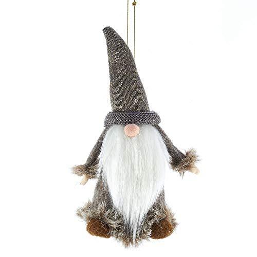 Kurt Adler Gnome Soft Grey 4 inch Fabric Christmas Decorative Hanging Figurine Ornament