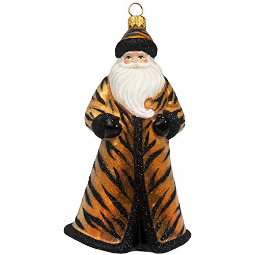 Joy to the World Collectibles Glitterazzi Tigress Santa Polish Glass Christmas Ornament