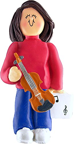 Music Treasures Co. Female Musician Violin Ornament – Brown