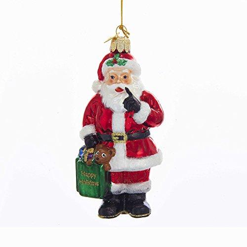 Kurt Adler Kurt S. Adler 4.75-Inch Noble Gems Glass Santa with Shopping Bag Ornament