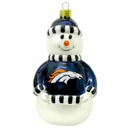 Topperscot Denver Broncos 3″ Blown Glass Snowman Ornament