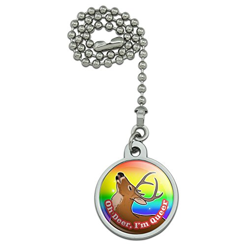 GRAPHICS & MORE Oh Deer I'm Queer Rainbow Pride Gay Lesbian Funny Ceiling Fan and Light Pull Chain