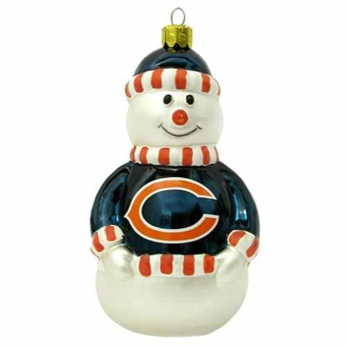 NFL Chicago Bears Blown Glass Snowman Ornament