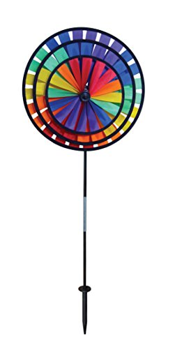 In the Breeze Best Selling Rainbow Triple Wheel Spinner- Ground Stake Included – Colorful Wind Spinner for your Yard and Garden