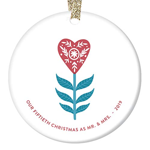 50th Christmas as Mr & Mrs Ornament 2019 Fifty 50 Years Together Married Gift Fiftieth Golden Anniversary Present Parent Grandparent Primitive Heart Tree Decoration Glossy 3″ Flat Circle Gold Ribbon