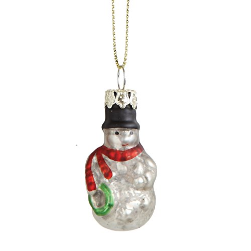 Creative Co-op Christmas Wishes Set of 12 1.5″ L Glass Snowman Ornament, 12 Piece