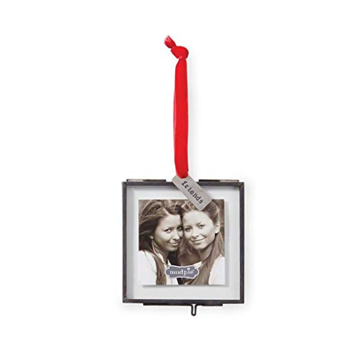 Mud Pie Friends Pressed Glass Ornament Frame,,3 1/2 x 3 1/2