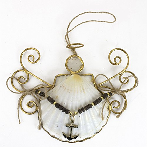 Beachcombers Anchor White Shell Angel Ornament