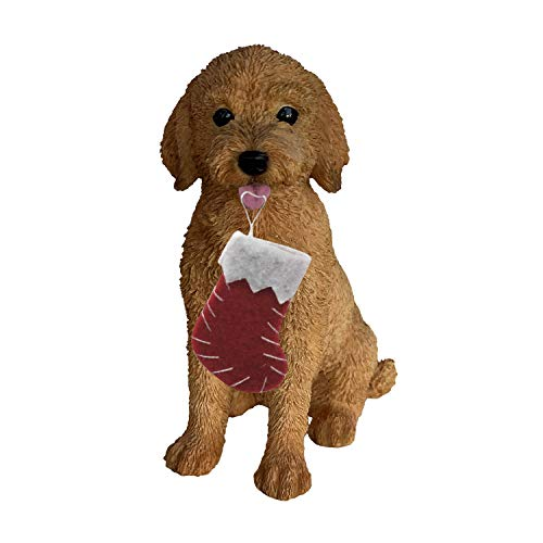Sandicast Goldendoodle with Stocking Christmas Ornament