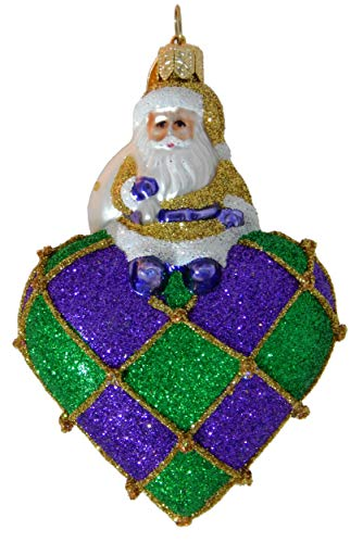 Landmark Creations to New Orleans with Love, Santa Jacquard European Glass Christmas Ornament Celebrates New Orleans!