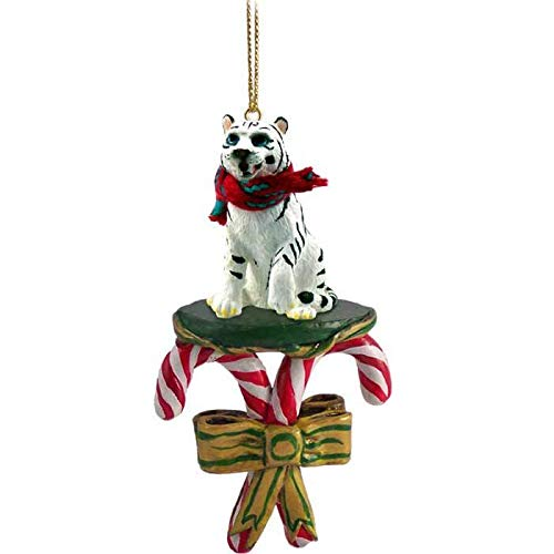 Conversation Concepts Tiger, White,Candy Cane Ornament