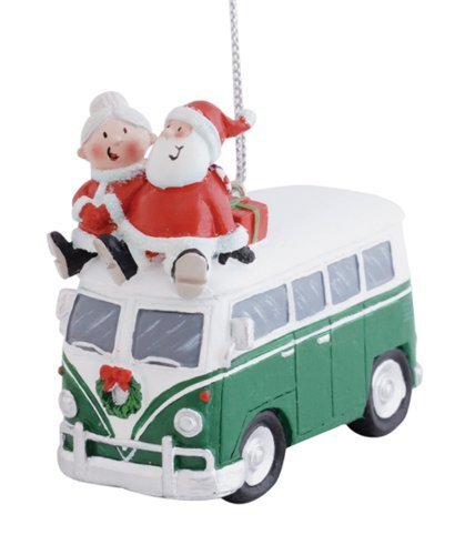 Cape Shore Santa and Mrs. Claus Riding on Top of Vw Bus Christmas Holiday Ornament