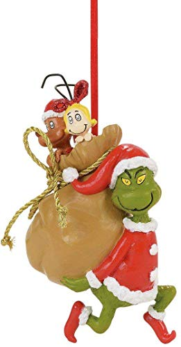 Department 56 Grinch Santy Claus Stowaways Hanging Ornament