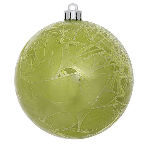 Vickerman Crackle Ball in 12/Bag with UV Resistant Shatterproof, Pre-Drilled Cap Secured & 6″ Green Floral Wire, 3″, Lime