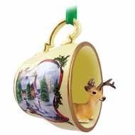 Conversation Concepts Deer Buck Tea Cup Snowman Holiday Ornament