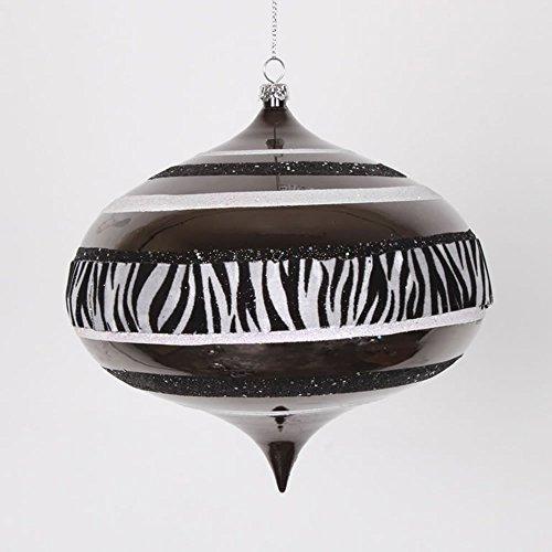 Vickerman Diva Safari Zebra Print/Stripes Black and White Commercial Christmas Onion Ornament, 6″