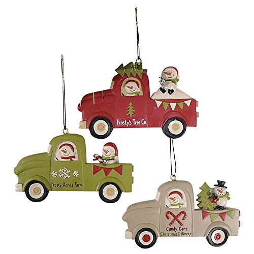 Blossom Bucket Set of 3 Trucks with Snowman Ornaments